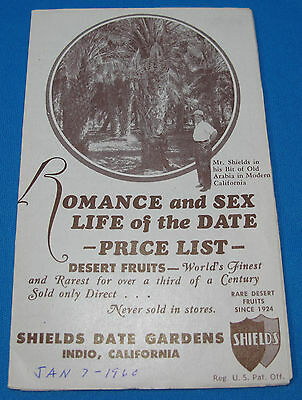 Romance Sex Life of the Date Advertising Brochure Shields Date Gardens Indio CA