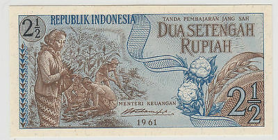 1961 2 1/2  Rupiah Indonesia Note Uncirculated 613