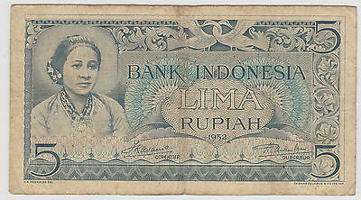 1952 5 Rupiah Indonesia Note Circulated 089