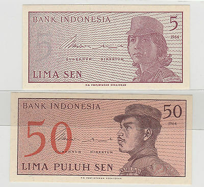 1964 5 & 50 Rupiah Indonesia Notes Uncirculated 946 & 793