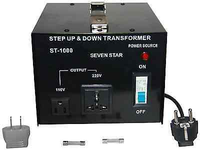 seven star st 1000 Step Up/Down transformer converts 220-240 volts down to 110-1