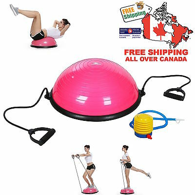 """Pink 23"""" Inch Bosu Balance Ball Trainer Yoga Fitness Exercise with Pump NEW HOT"""