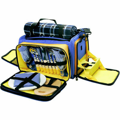 2 Person Picnic Set/Shoulder Bag Plates/Cutlery/Wine Glasses Blanket Cup Holders