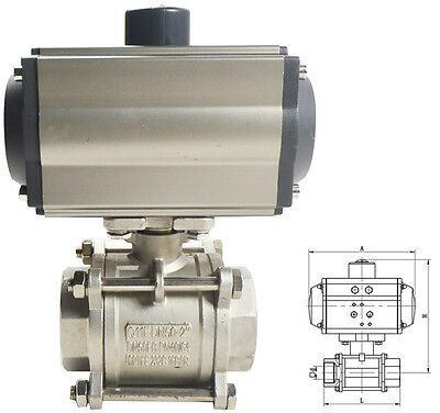 NPT 2inch 3 piece Pneumatic Actuated Ball Valve Double Acting Air Return Process
