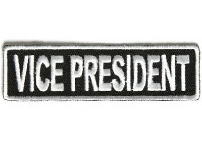 Vice President White 1 X 3 1/2 Club Embroidered Biker Patch