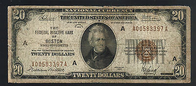 $20 DOLLAR 1929 USA National BOSTON MA Brown Seal Federal Reserve Bank Note Bill
