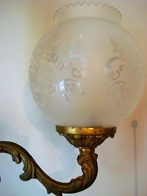 French Actress Estat -Vintage Marked Bronze Chandelier 3 Etched Glass Globes