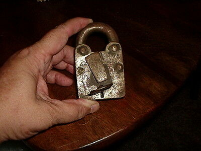 Antique Heavy Metal Padlock with Key & Key Hole Cover