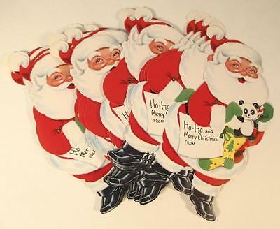 20 Vintage Die Cut Jointed Christmas Santa Claus Gift Tags Cards NOS Adorable