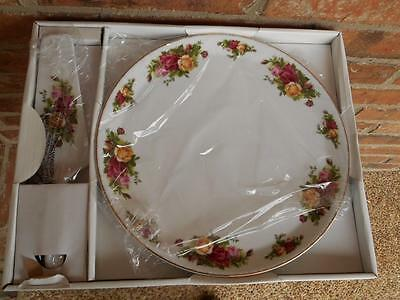 Royal Albert OLD COUNTRY ROSES Cake Plate & Server Boxed