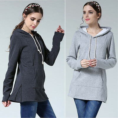 Cotton Maternity Clothes Breastfeeding Top With Hoodie Fall Winter Nursing Top