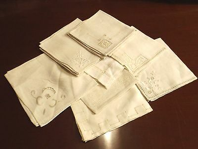 antique lot of 12 linen embroidered, whitework ,cutwork-as found