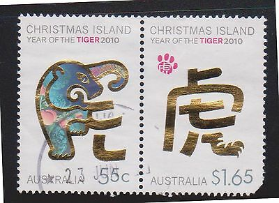 (AUP-146) 2000 Christmas Island year of the tiger 55c &$1.65 (round corner)
