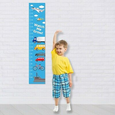 Personalised Height Fabric Growth Chart Planes Trucks & Cars Design Add Name DOB