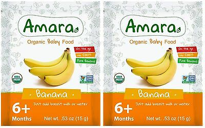(2x) Stage 2 Organic Dried Baby Food for 6 Month Banana Flavor 7 Pk exp 05/2018