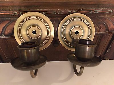 Vintage Pair of Chase Brass Wall Sconces Tudor Styled Fixtures