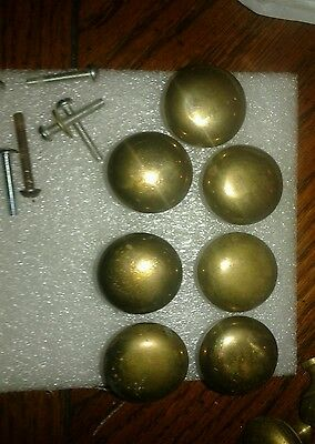 "7 Antique Drawer Knows Solid Brass 1 1/2"" Diameter 1"" Rise"
