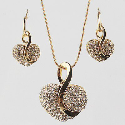 Fashion Women 18k Gold Plated Heart Clear Crystal Necklace Earring Jewelry Sets