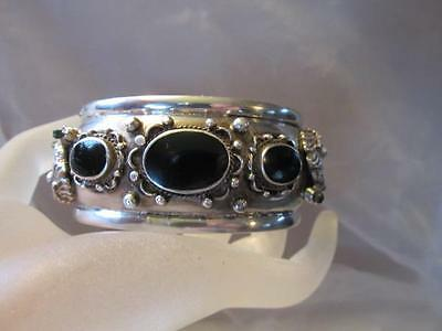 Vintage Sterling Silver Chinese Dragon Sea Serpent Turquoise Onyx Bracelet Cuff
