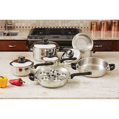 T304 17pc Surgical Stainless Steel Waterless Greaseless Pot Pan Cookware Set