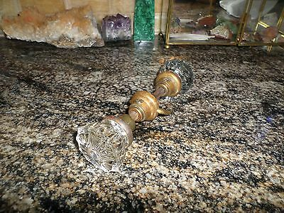 Antique Vintage Glass Crystal Swirl Door Knob Set With Dimensional Depth