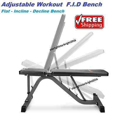Adjustable Workout Bench Press Flat Incline Decline Weights Strength Fitness