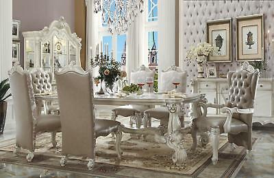 Acme Furniture Gray and White Versailles Dining Room Set Classic 7pc Traditional