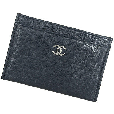 CHANEL Card Case Sevruga CC Navy Caviarskin Leather Authentic 3551035