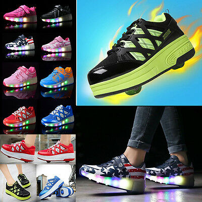Unisex LED Light Shoes Wheels Roller Skate Shoes Kids Adults Breathable Sneakers