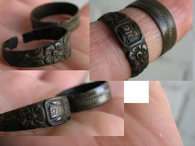 Very Nice Bronze Medieval Rings With Ornament #4991