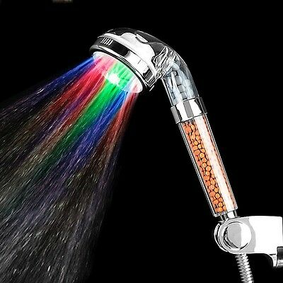 7 Colors Change LED Shower Head Tourmaline SPA Hand Held Filter Water Glow Light