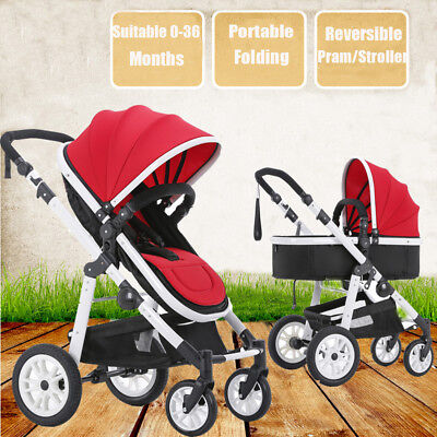 AU 2 in 1 Aluminium Baby Toddler Pram Stroller Jogger with Bassinet 4 Wheel