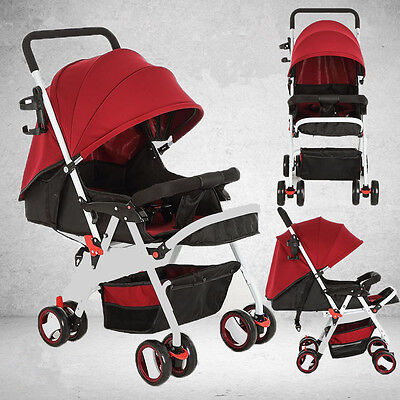 New Baby Pushchair Swivel Wheels Pram Travel System Stroller Foldable Buggy