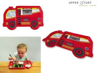 DinnerTime - Fire Truck Melamine Children's Plate Fun Food FAST 'N FREE DELIVERY