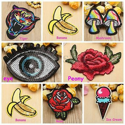 9 Type DIY Iron Sew On Patch Badge Embroidery Fabric Applique For Bag Clothes