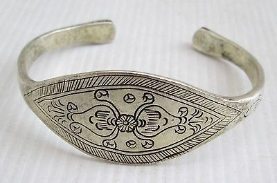 Old Hmong Hill Tribe Unisex Silver Adjustable Bracelet Floral Design