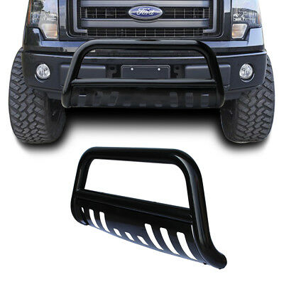 2004-2014 Ford F150 Black Bull Bar Bumper Grille Guard + Removalbe Skid Plate