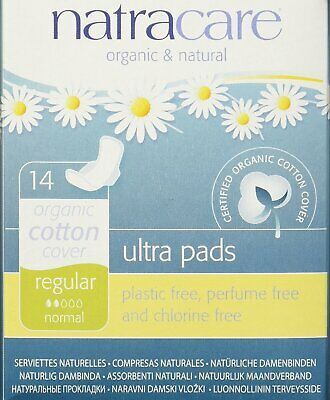 NEW Natracare Natural Feminine Ultra Pads Regular With Wings - 14 Pads