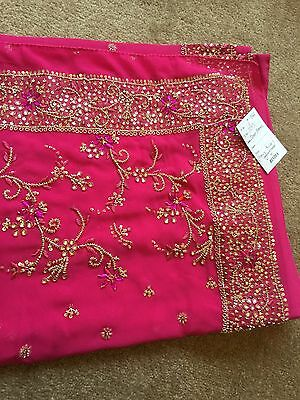 Saree- Bollywood Fashion Wedding Party Wear Heavy Designer Sari Indian Asian
