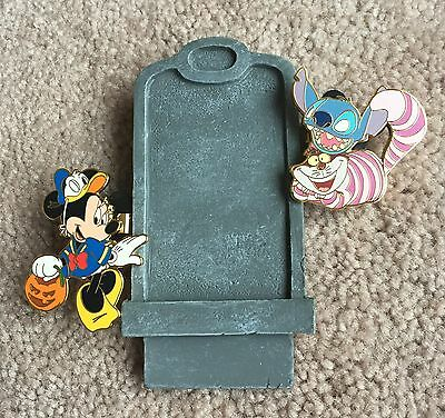 Disney Direct Halloween Tombstone Pin Set - Minnie Mouse and Cheshire Cat NEW