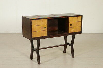 Cabinet Maple Veneer Ebony Stained Wood Vintage Manufactured in Italy 1940s