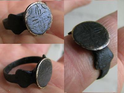 Very Nice Bronze Viking Ring With Ornament - Lily #5021