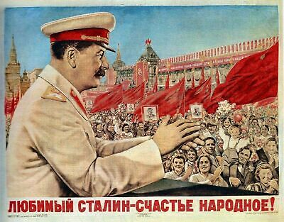 Vintage Russian Propaganda Stalin Communist Red Flag Poster Art Reprint A4