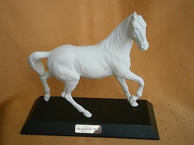 "Beswick White Horse ""Spirit of the Wind"" Matt finish porcelain on plinth"