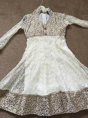 Childrens Anarkali Indian Asian Bollywood Style Dress Cream Designer Piece Lace