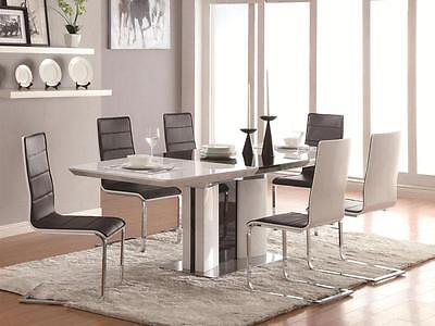 LENNOX - 5pcs Modern White Rectangular Dining Room Table & Chairs Set Furniture