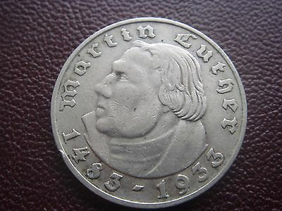 Germany Third Reich Martin Luther Silver Coin 2 MARK Reichsmark 1933 A Berlin