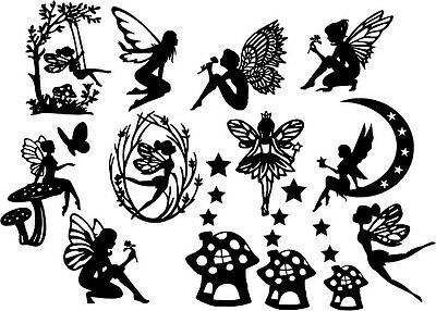 Die Cut Outs Silhouette Fairy Shapes x 13 set card making, Fairy jar, Scrapbook