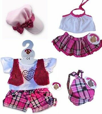 Teddy Bear Clothes fits Build a Bear Teddies 2 x Candy Check Outfits Bag +Hat