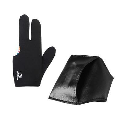 3-finger Glove & Snooker Billiard Pool Cue Chalk Black Clip-on Leather Pouch